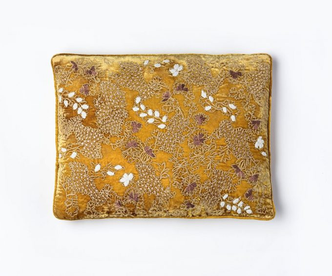 Fina cushion mustard gold silk velvet cushion hand embroidered with light flowers 30 x 40cm