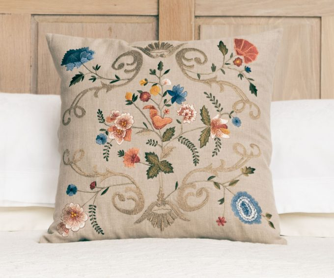 Florentina neutral embroidered linen cushion 50cm x 50cm