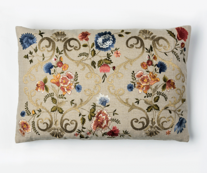 Florentina - neutral embroidered linen cushion 60mcm x 40cm