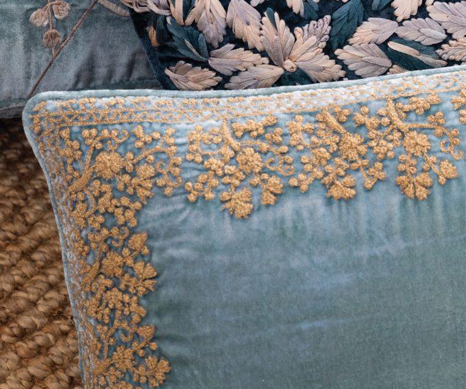 Jamila cushion - Light blue silk velvet cushion with gold hand embroidery 30cm x 50cm
