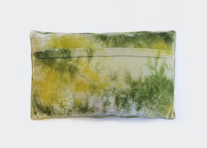 Fina - embroidered velvet cushion in shaded lake